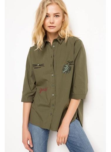 DeFacto Nakış İşlemeli Gömlek Haki